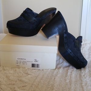 Coach Nalina Loafer Mules Black on Black 9M NIB